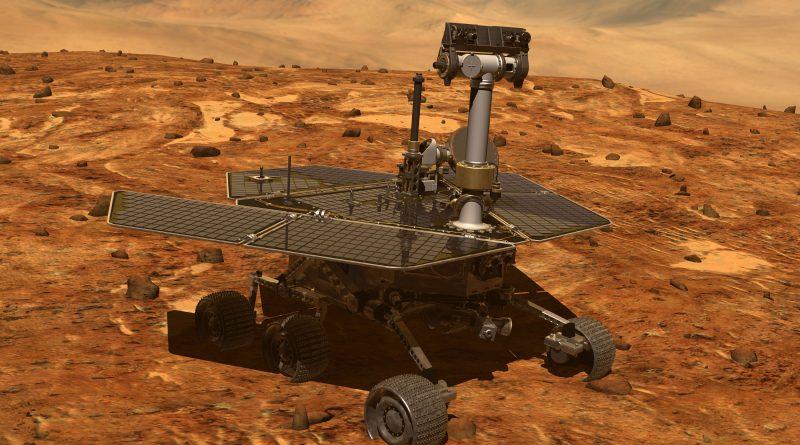 Ein rendering des Opportunity Rovers auf der Mars Oberfläche